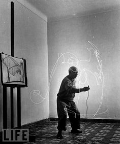 When Mili visited Picasso in 1949 he showed Picasso some of these photographs. That led Picasso to create his light drawings with a small flashlight in a dark room. The images would be preserved by the camera only, no canvas.