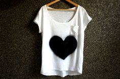 Hand Painted  T Shirt Black Love  / Loose Blouse by Aakasha, $21.75