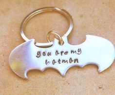 Batman Key Chain hand stamped This listing is for 1 key chain    * copper or aluminum batman  * you are my hero or you are my superhero  * metal has
