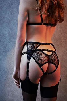 Lace garter belt and panty