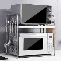 Stainless steel Godedi microwave stand Support pour micro-ondes Godedi en acier inoxydable - Own Kitchen Pantry Kitchen Rack, Kitchen Shop, New Kitchen, Kitchen Design, Kitchen Flooring, Kitchen Countertops, Kitchen Appliances, Appartement Design Studio, Kitchen Interior