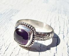 #West Wind Creations      #ring                     #Amethyst #Sterling #Silver #Ring #Fancy #Beaded #Boarder #Setting #Size      Amethyst Sterling Silver Ring Fancy Beaded Boarder Setting Size 7                                       http://www.seapai.com/product.aspx?PID=684314