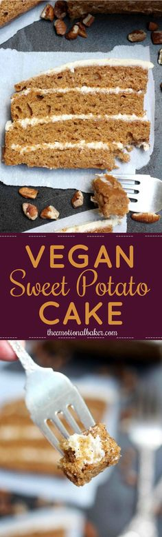 Vegetarian · This Vegan Sweet Potato Cake is packed with flavor and perfect for any celebration. Added bonus - it's one of the easiest layer cakes you'll ever make! Brownie Desserts, Mini Desserts, Coconut Dessert, Oreo Dessert, Vegan Dessert Recipes, Cake Recipes, Vegetarian Sweets, Vegan Vegetarian, Gateaux Vegan
