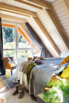 〚 Such a cozy mountain home in Spain 〛 ◾ Photos ◾Ideas◾ Design A Frame Cabin, A Frame House, Cozy Grey Living Room, Small Tiny House, Dreams Beds, Ranch Style Homes, Attic Rooms, Design Case, Cabana