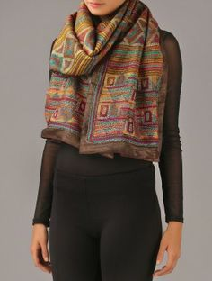 Multi-Color Kantha Tussar Silk Stole
