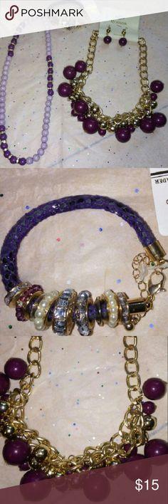 Gorgeous Purple Lot 2 necklaces,  and bracelet Jewelry