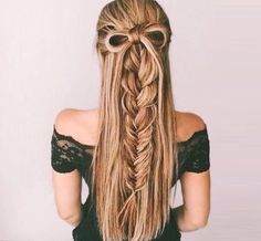 Half-Up Braid With a Bow - 101 Braid Ideas That Will Save Your Bad Hair Day (Photos)