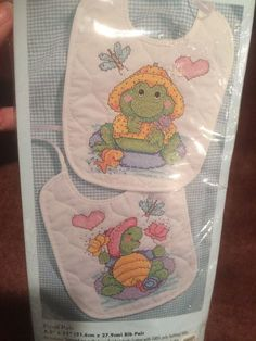 Bucilla Pond Pals Set of 2 Baby Bibs Stamped Cross Stitch Kit Frog Turtle 41621 #Bucilla #BabyBibs