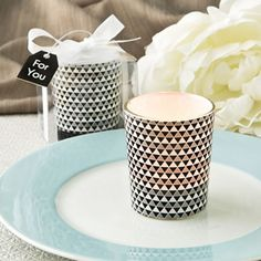 Find Modern graphic design Glass candle votive holder in silver with quantity discounts here, along with other wedding favors and shower gifts.