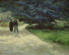 "https://www.facebook.com/VincentvanGogh.MiaFeigelson.Gallery  ""The public garden with a couple strolling (The Poet's garden)"" (Arles. October, 1888) [F479] By Vincent Van Gogh, from Zundert, Netherlands (1853 - 1890) - oil on canvas; 73 x 92 cm - [Post-Impressionism] Place of creation: Arles, France Private Collection"