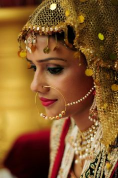 The traditional nath with pearls. So beautiful!