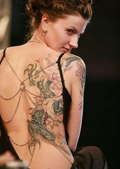 Beautiful Tattoos for women - full back, love the tat and the dress~