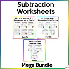 Help your students master the skills of subtraction up to twenty and subtracting two-digit by one-digit, two-digit by two-digit, and three-digit by one-digit.These worksheets are a must-have for Math centers, it is also great for practice, and could be assigned for homework. No prep needed. Printer-... School Resources, Classroom Resources, Math Resources, Math Activities, Subtraction Worksheets, Teacher Worksheets, Classroom Organization, Classroom Management, School Stuff