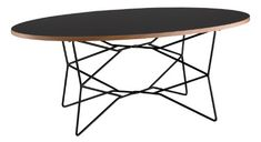Network Modern / Contemporary Coffee Table Black melamine veneer table has a natural MDF layered edge: table top is thick. The black metal wire base has Dia. Oval table top: W x L. Dark Wood Coffee Table, Coffee Table Images, Black Coffee Tables, Coffee Tables For Sale, Glass Top Coffee Table, Round Coffee Table, Modern Coffee Tables, Oval Table, White Coffee