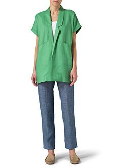 Vivid Linen Oversized Short Sleeve Jacket4XGreen *** You can get additional details at the image link.(This is an Amazon affiliate link)