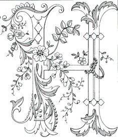 abecedário / Fancy monogram: Link to Antique Pattern Library, all letters available