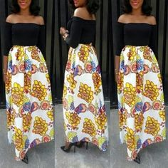 Black Floral African Print Cut Out Boat Neck Elbow Sleeve Off Shoulder Skinny Prom Evening Party Vintage Puffy Maxi Dress
