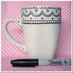 Coffee mug + Sharpie. I ♥ the lace pattern! | Various homemade presents ideas!!! [http://www.the36thavenue.com/25-handmade-gifts-part-3/]
