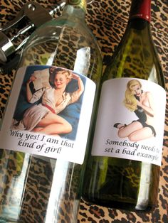 Pin Up girls wine/booze labels Set of 6 Assorted by picardcreative, $7.00