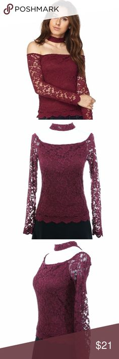Burgundy Lace Choker Off Shoulder Long Sleeve Top This solid long sleeve off shoulder top comes with a choker accent in a lace fabric, and has a keyhole detail in the back that connects to the body of this top. Wear this with denim jeans and a pair of your favorite heels and you will be set for the day.  Made in China 62% Cotton 31% Nylon 7% Spandex Lining: 100% Polyester Ambiance Tops