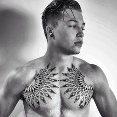 http://tattooideas247.com/geometric-chest-tattoo/ Geometric Chest Tattoo #BlackInk, #Chest, #Geometric