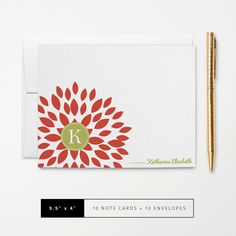 Flat or Folded Note Cards // Set of 10 // Red Blooming Blossom with Green Monogram Initial and Name // Personalized Stationery by k8inked