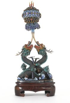 """A Chinese enamel and gem-set """"dragon"""" incense burner, century. Dragon Incense Burner, Japanese Incense, Antique Decor, China, Chinese Culture, Texture Painting, Decorative Objects, Bronze, Antiques"""