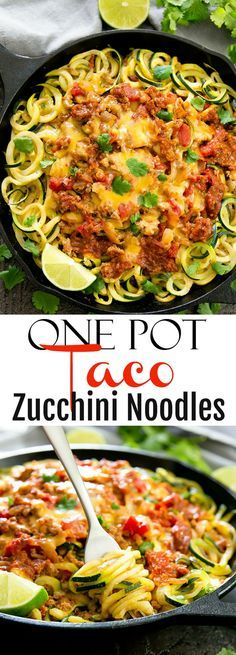 One Pot Taco Zucchini Noodles. Using ground turkey and zucchini noodles for a healthy, low carb, gluten free meal.
