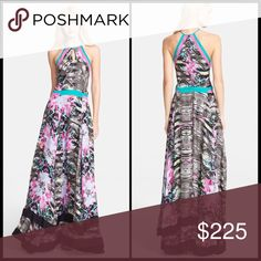 "PARKER 🦄 Aurora Maxi Dress NWT Colorpop trim accents the black & white reptile print of a full-length sleeveless halter dress with a front keyhole and a layered skirt. - Halter neck - Sleeveless - Concealed back zip closure - Approx. 62"" length - Imported Fiber Content: 100% polyester Care: Dry clean only Additional Info: Fit: this style fits true to size.  Model's stats for sizing: - Height: 5'9"" - Bust: 32"" - Waist: 24"" - Hips: 34"" Model is wearing size S. Parker Dresses Maxi"