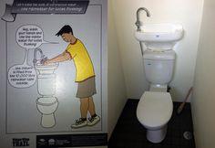Ecobaño que utiliza agua de lluvia y reutiliza el agua del lavavo. Localizado en un baño público de Australia.