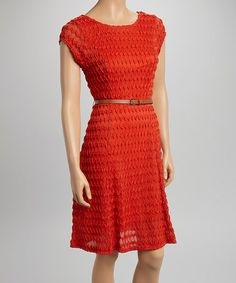 Look at this #zulilyfind! Orange Zigzag Textured Belted Cap-Sleeve Dress by Sharagano #zulilyfinds