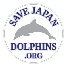 Save Japan Dolphins Circle Sticker - Silver/Blue