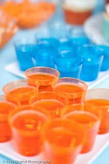 What about Blue and Orange punch?  Or maybe blue and orange Jello cups?