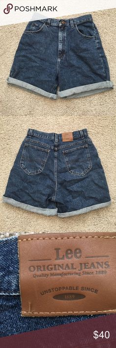"Vintage Super High Wasted Shorts These vintage shorts flatter the waist like no other! Mid wash denim, mild stretch. 30"" waist, 38"" at the hip, 7"" inseam when uncuffed. Lee Shorts Jean Shorts"