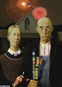 Independence Day July 4 Version Of American Gothic Famous Painting