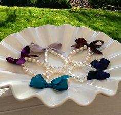 Little Girl Pearl and ribbon bracelet for flower girl gift, birthday gift, baby or girls photo prop custom made on Etsy, $8.95