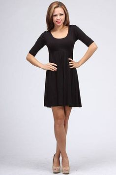 3/4 Sleeve Black Dress ($36)
