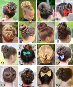 Gymnastics Hairstyles for Competition: Bun Edition - Bun Hairstyles Kids Updo Hairstyles, Ballet Hairstyles, Childrens Hairstyles, Cute Hairstyles For Kids, Little Girl Hairstyles, Gymnastics Hairstyles, Birthday Hairstyles, Flower Girl Hairstyles, Girl Haircuts