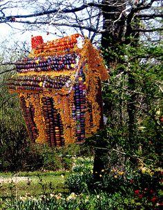 Indian Corn Edible Birdhouse w/Orange Cookie Seed