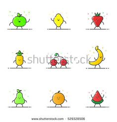 Vector illustration of funny fruit characters cartoon set in line style. Linear cute icons with face smile. Flat design diet nutrition for web and mobile app Outline vegan expression.