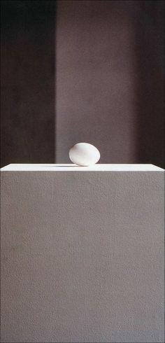 Mudam exhibition (mur poli) Karin Sander · Uovo di gallina · 1994