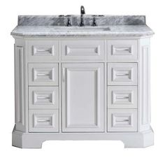 Bristol 42 in. Vanity in White with Marble Vanity Top in Carrara White-PEBRISTOL42W - The Home Depot