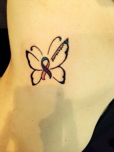 "My new tattoo ❤ Had this done Monday 29 September 2014. Placement is on the right just under my bra line. Yes, on the ribs, hardcore but worth every second of the pain. This is the Thyroid Cancer Ribbon as a butterfly. The thyroid is known as the butterfly gland and I had the word ""survivor"" added because that's me, a survivor of thyroid cancer and secondary cancer. Now I am cancer free and life is good. One of the life lessons learnt from my experience is to not sweat the small stuff! ❤"