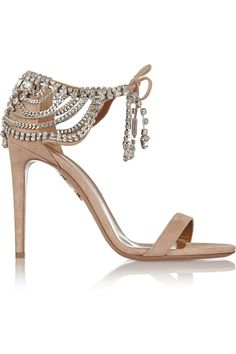 Crystals embellished rustic cream-pink suede #sandal by Olivia Palermo for Aquazzura.
