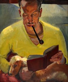 Catawiki online auction house: Richard Munsell Chambers (1883 - 1941) - Man with pipe and dog