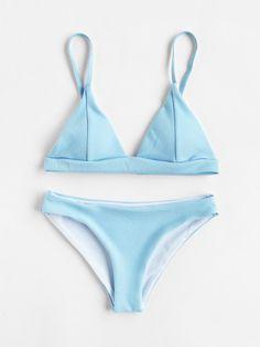Seam Detail Triangle Bikini Set http://www.allthingsvogue.com