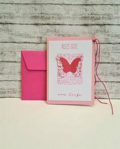 Glückwunschkarten - Taufkarte SCHMETTERLING pink/rosa - ein Designerstück von POMMPLA bei DaWanda