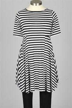 Comfy USA - Florence Dress - Black & White Stripe - Skirts & Dresses at Fawbushs