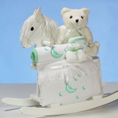 Neutral White Rocking Horse w/Layette by Baby Gifts N Treasures.com