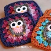 Repeat Crafter Me: Owl Granny Square Crochet Pattern, crochet, granny square… Grannies Crochet, Crochet Owls, Crochet Motifs, Granny Square Crochet Pattern, Crochet Squares, Cute Crochet, Crochet Crafts, Crochet Projects, Knit Crochet
